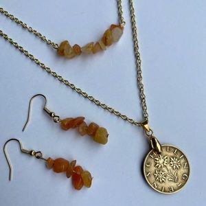 Austrian Coin and Gem Stone Necklace w/ Earrings